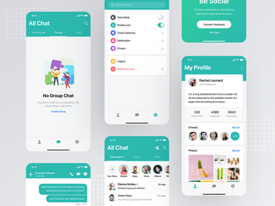 Messaging app ui kit login sign in signup registration register join onboarding page screen ui ux user kit social media network minimal clean modern interaction message conversation inbox text iphone x ios android interface experience design application app mobile chat profile