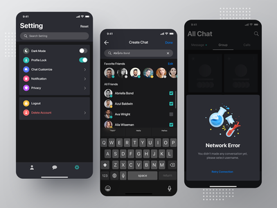 Dark App Exploration login sign in signup registration register join onboarding page screen ui ux user kit social media network minimal clean modern interaction message conversation inbox text iphone x ios android interface experience design application app mobile chat profile