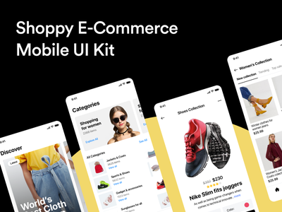 Shoppy E-Commerce Mobile UI Kit user inteface market store e-commerce business design minimal clean dark iphone ios applicaiton app mobile shop online ecommerce ui kit ux ui
