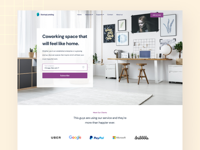 Co-working space landing page business minimal startup homepage app user interface ux ui typography design agency modern landing page office coworker co-working coworking web design web website