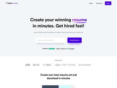 Freshresume.co - Online CV builder platform template job landing home page typography product design saas app design user experience user interface ux ui web web design cv website branding builder resume