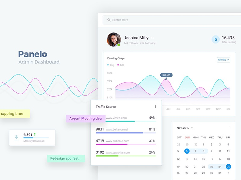 Panelo admin dashboard web application design ux member site statistic calender graph light dashboard admin