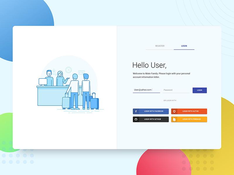 Material login page vector ui ux illustration register registration icon social flat material signup login