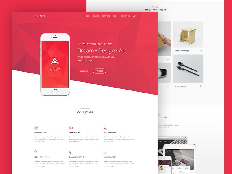 Apex Corporate PSD Template ui ux design service modern flat red web theme corporate psd template