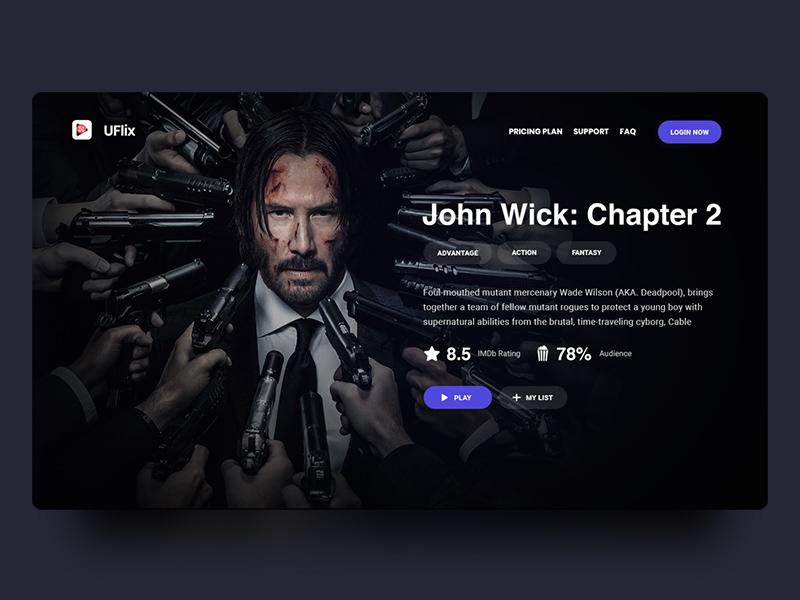 Movie header header stream tv web dark black movie online slide design ux ui
