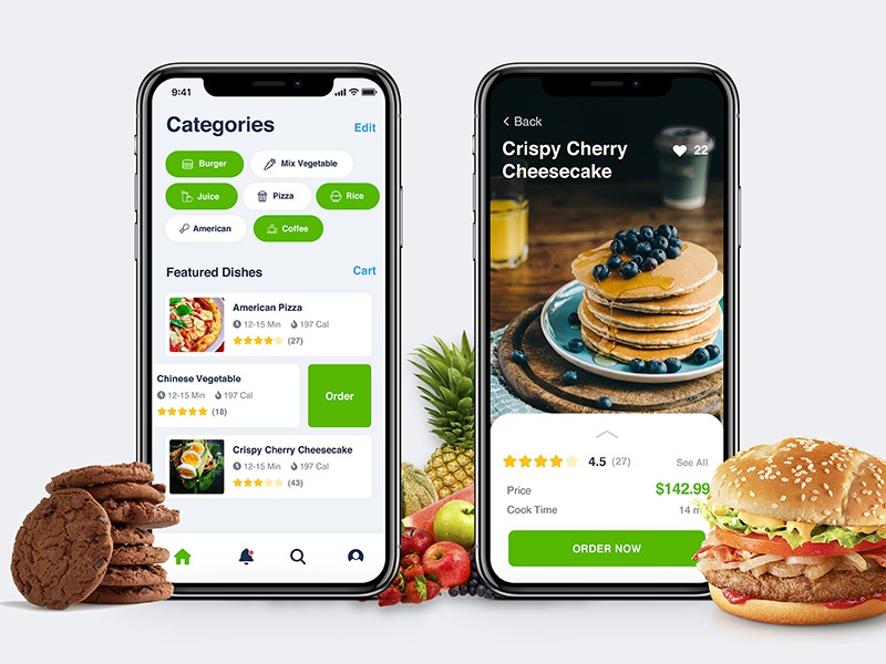Food app iphone mobile restaurant ios minimal swipe food app application design ux ui