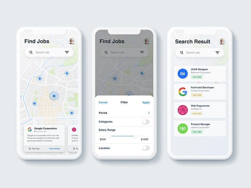 Find job app map filter ios iphone minimal design ux ui search job application app