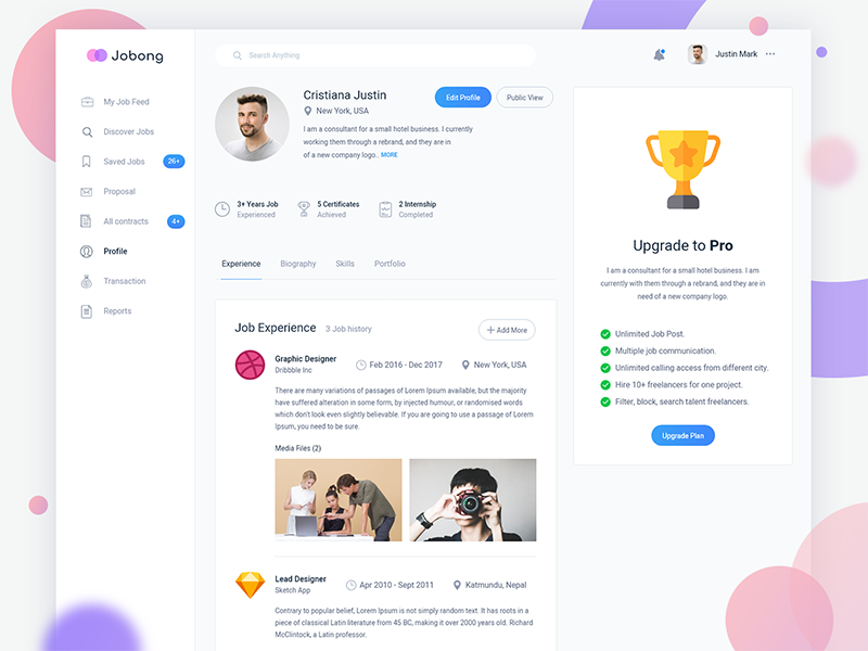 Job dashboard profile agency mobile design company admin administration modern minimal flat typography typo font web website webdesign bio biography skill talent upgrade update subscribe job portfolio profile dashboard client app application software experience interface ui ux user