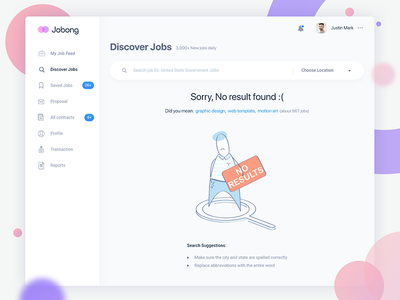 Search job error page lost busy empty blank exist not agency company design admin administration client crm typography type font web website webdesign ui ux user interface experience jobs job online jobong search find discover no result found 404 error page