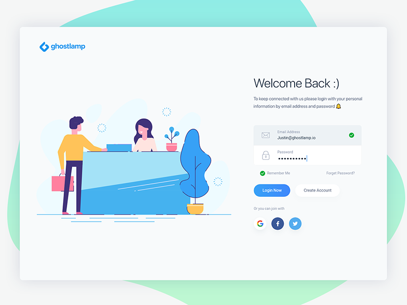 Login page clean modern minimal create account forget vector people button social illustration character cartoon password email join color gradient typography logo interaction userinteraction login signup sign in web website webdesign user interface experience design ui ux