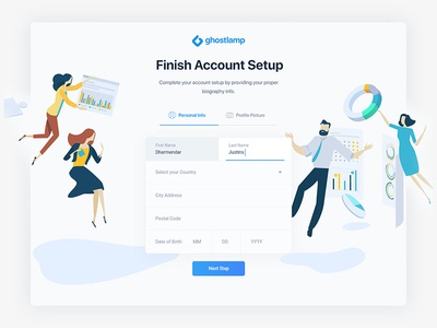 Account setup page field login sign up signup typography logo flat interaction modern minimal clean web website webdesign interface experience ui ux user register registration personal info information profile name picture country date business office chart