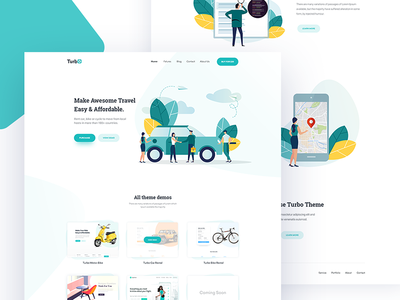 Turbo Car Rental Landing page template theme themeforest illustration cartoon character homepage home landing vehicle car rent rental tour travel trip ride web website webdesign page ui ux user logo typography interaction interface experience design application app