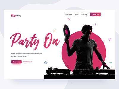 DJ website party event rock song bass typography logo flat minimal clean interaction modern web website webdesign interface experience ui ux user music player landing page homepage home dj disco jocky jockey