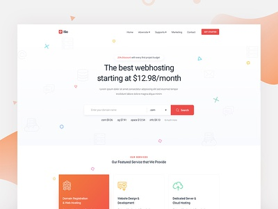 Hosting website landing page branding cloud storage store hosting host domain registration typography color flat gradient interaction modern minimal clean web website webdesign interface experience ui ux user work in process wip search slider header landing page service homepage home server company agency corporate