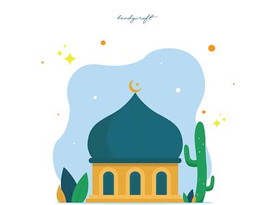 Ramadhan Kareem flatdesign quran mosque ramadhan moslem islam illustration design character blessing