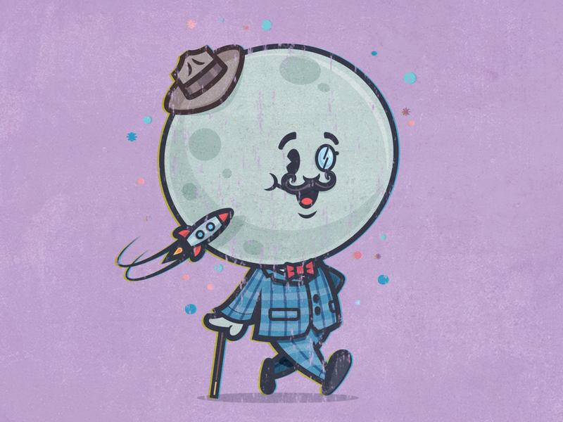 Fly me to the moon moon retro mascot mascot design mascot logo mascot character mascot cartoon design comic character design cartoon vector illustration