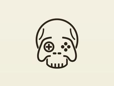 Death by gaming video games skull adobe illustrator icon identity logo design branding cartoon vector illustration