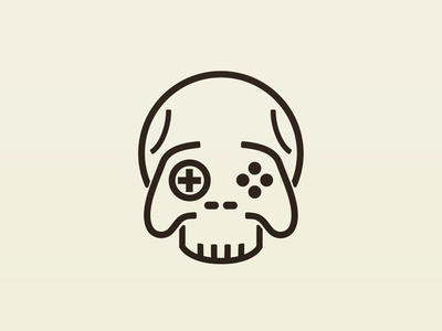 Death by gaming video games skull adobe illustrator icon identity logo design branding cartoon vector illustration