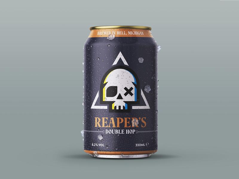 Reaper's Craft Beer Can vectors beer can craft beer creative packaging logo art direction design character branding character design vector illustration