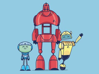 Robot mascot design robots robot cartoon character vector illustration character design cartoon design cartoon