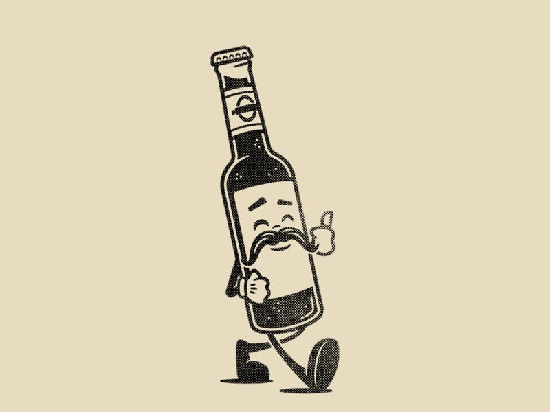 Retro Bottle beer craft beer cartoon design character cartoon character character design cartoon vector illustration