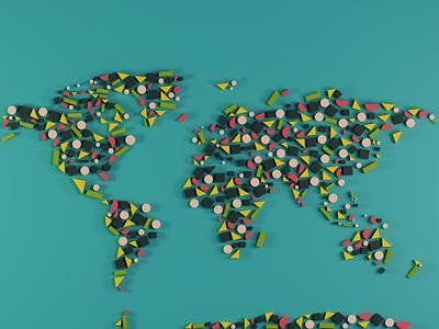 World Map colors shapes design clean minimal blender3d blender map world world map