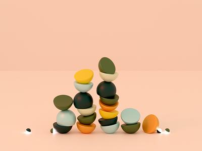 Random renders - Semicircles minimal clean inpiration colors design pebble semicircle shapes blender3d blender