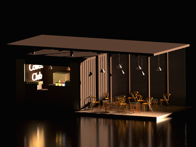 Coffee Shop nightlife sunrise blender3d architecture design coffeeshop blender 3d