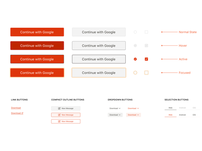 UI Component - Buttons visual design uidesign component link checkbox radio button buttons