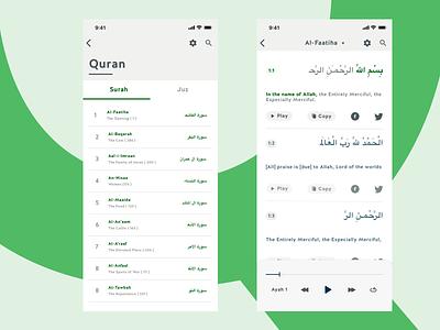 Quran ios app ui flat clean ux ui  ux clean ui app juz player islam design ramadan faatiha green surah muslim quran ui