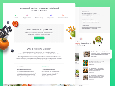 Casey Means — Landing & Contact Page desktop website landing clear design landing pages landing page designer health medical green clean ui clean ui design