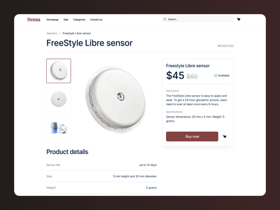 Product sensor page v2 - Levels Health • 2 Dribbble Invites medical care tech sensor health e-commerce shop e-commerce medical design website landing design clear design ui