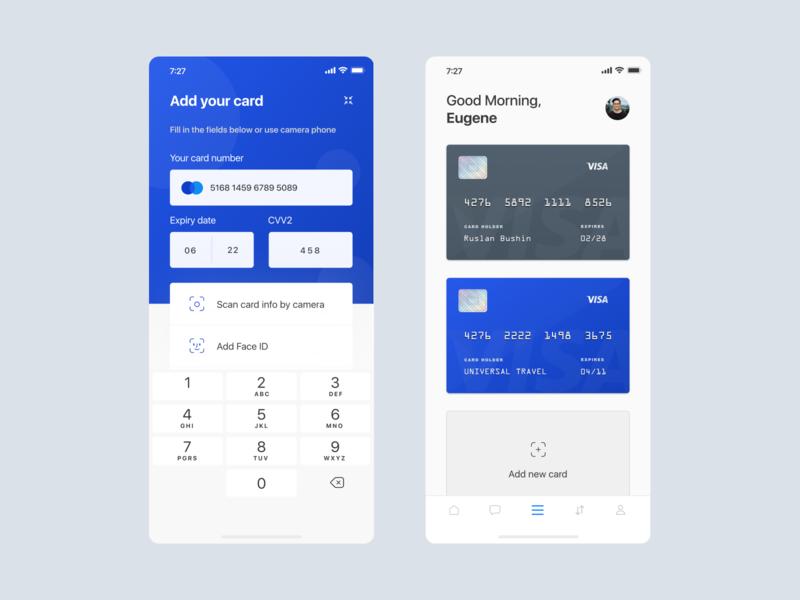 Banking app - Card list add card card list ux design ios design banking banking app financial app app design ui