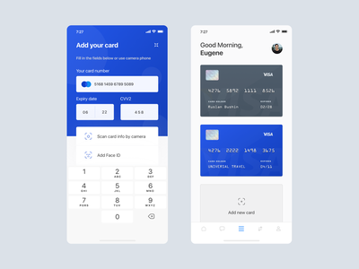 Banking app - Card list add card card list ux design ios design banking banking app financial app app design ui