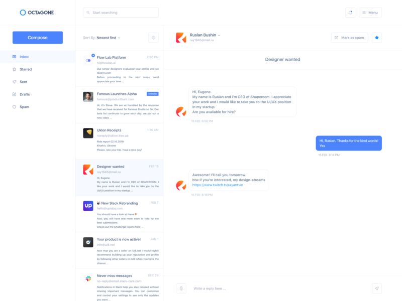 Octagone - UI screen email design clear design clear octagon email app email messages chat app chat