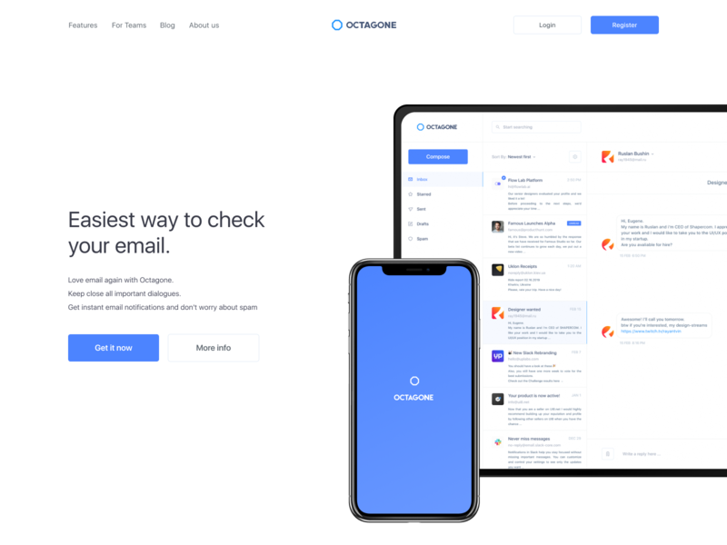 Octagone - Landing Hero Page email app mail app clean design chat bot messanger app message app website web hero landing message chat app ui