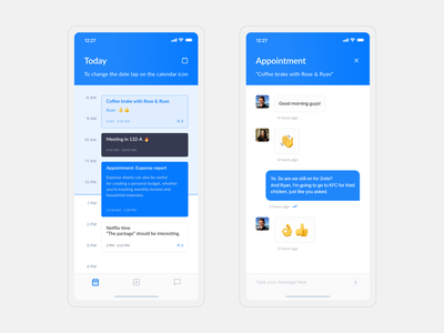 Scheduler - iOS design scheduler schedule emoji message app ux chat ios chat app chat timeline design ios design app design ui