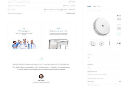 Product sensor page - Levels Health • 1 Dribbble Invite white desktop product design product page shaipers design clean promo page landing website medical care clear design
