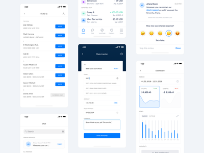 The Bank App - iOS design. finances finance banking transfers message chat startup statistic transfer dashboard ui dashboad bank card bank design ios design app design clear design ui