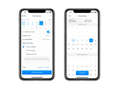 Trip Planner iOS App UI