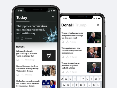 News App — Home Screen & Search mainpage newsletter explore home page coronavirus trump search mobile search ios home screen home ios search design ios design app design clear design ui
