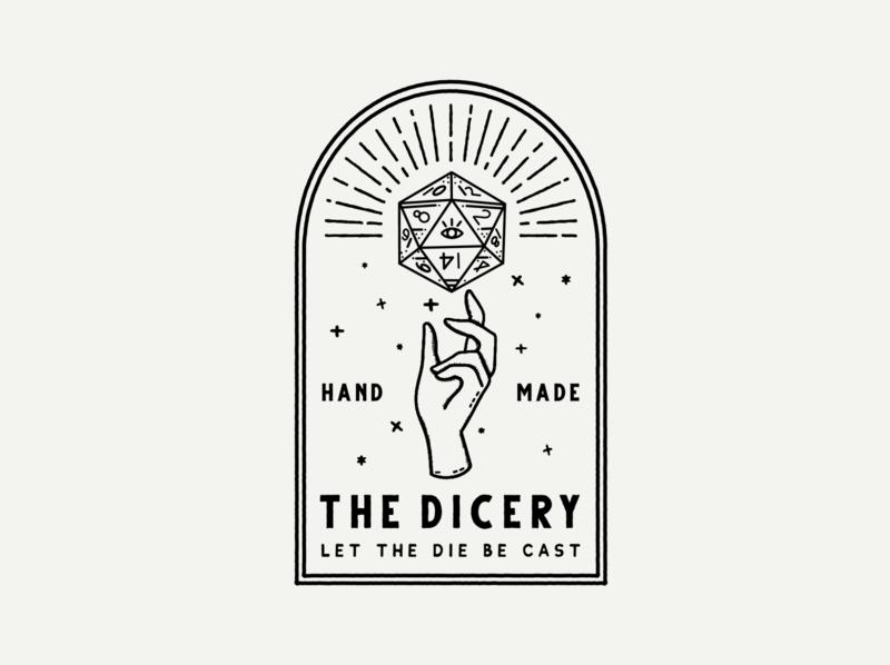 The Dicery Branding I d20 tabletop rpg dungeons and dragons dnd logo branding fortune teller mystic resincasting