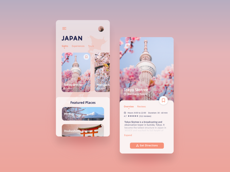 Travel App ui design mobile ui mobile adventure japan pink travel