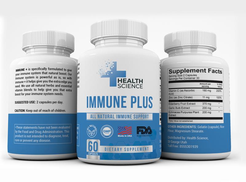 """""""IMMUNE PLUS"""" Label design for """"HEALTH SCIENCE"""""""