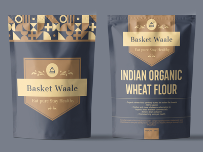 "INDIAN ORGANIC WHEAT FLOUR for ""Basket Waale"" premium design packaging design bag design minimalist design clean design indian pouch design"