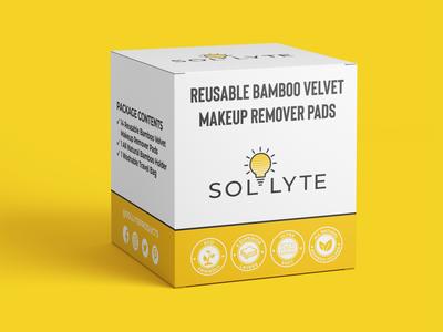 """Box design for """"SOLLYTE"""" clean design logo design branding minimalist portograph yellow fiverr labelling packaging label design packaging design box design"""