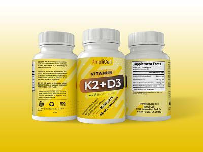 Vitamin K2 + D3 Label Design package design label mockup label and box design supplement label design label packaging vitamin label packaging design packaging label design label labeldesign