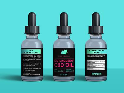 """CBD Oil Label for """"KARMAQUEEN"""" branding label mockup supplement label design labeldesign label logo label and box design packaging design cbd label design cbd packaging cbd logo cbd label"""