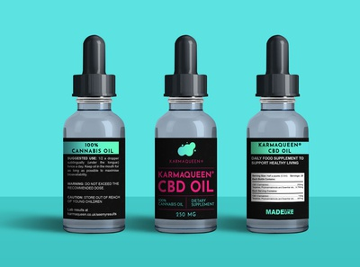 "CBD Oil Label for ""KARMAQUEEN"""