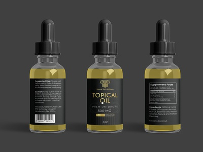 Topical Oil Label packaging logo labeldesign branding label and box design packaging design royal premium design black and gold black tincture label design cbd label design label design cbd oil oil